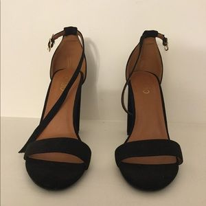 Ollio Faux Suede Ankle Strap Chunky High Heel